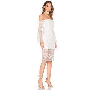 Bardot Geo Lace Dress in Ivory